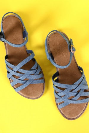 Bamboo Denim Open Toe Weaved Band Flat Sandal