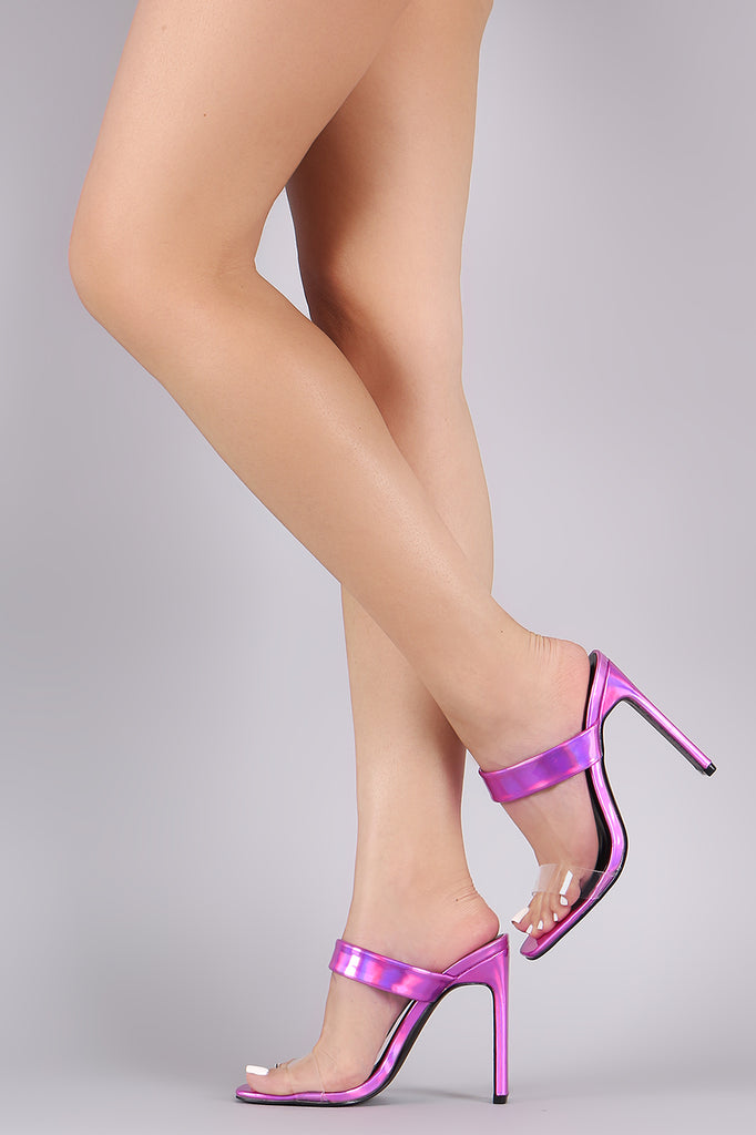 Holographic Transparent Open Toe Rectangle Mule Heel