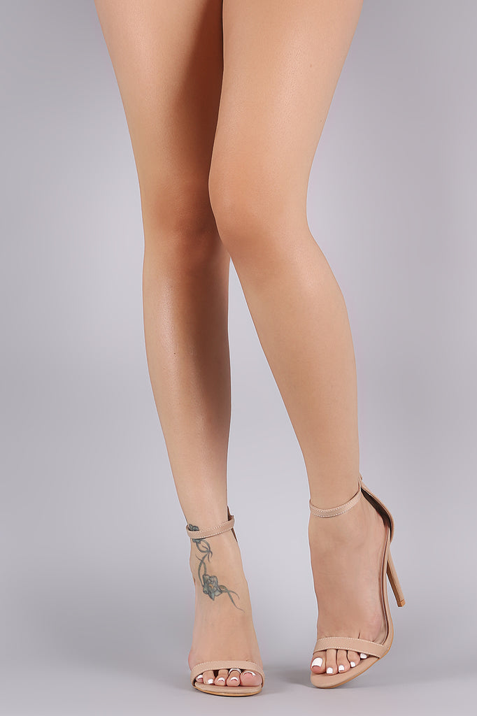 Elastane Open Toe Ankle Strap Stiletto Heel