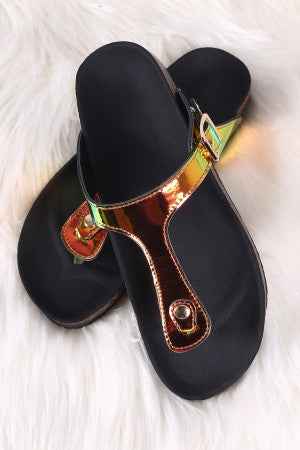 Holographic T-Strap Buckle Footbed Slide Sandal