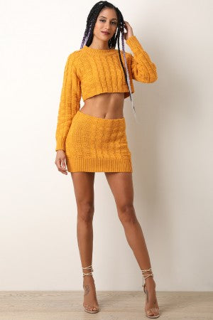 Two-Piece Square Cable Knit Crop Sweater with Mini Skirt Set