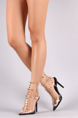 Liliana Spike Caged Transparent Pointy Toe Heel