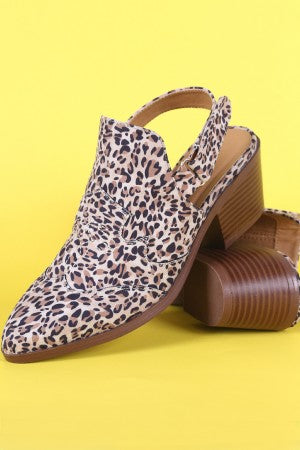 Qupid Leopard Pointy Toe Slingback Chunky Heeled Mule