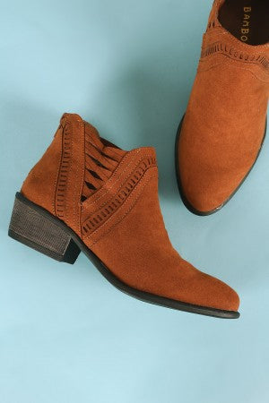 Bamboo Perforated Suede Side Lattice Trim Cowgirl Booties
