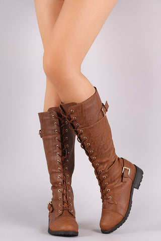 Wild Diva Lounge Buckled Lace Up Combat Knee High Boots