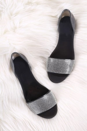 Liliana Rhinestone Open Toe Jelly Dorsay Flat