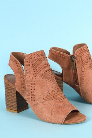 Bamboo Topstitch Woven Peep Toe Stacked Chunky Heel Booties