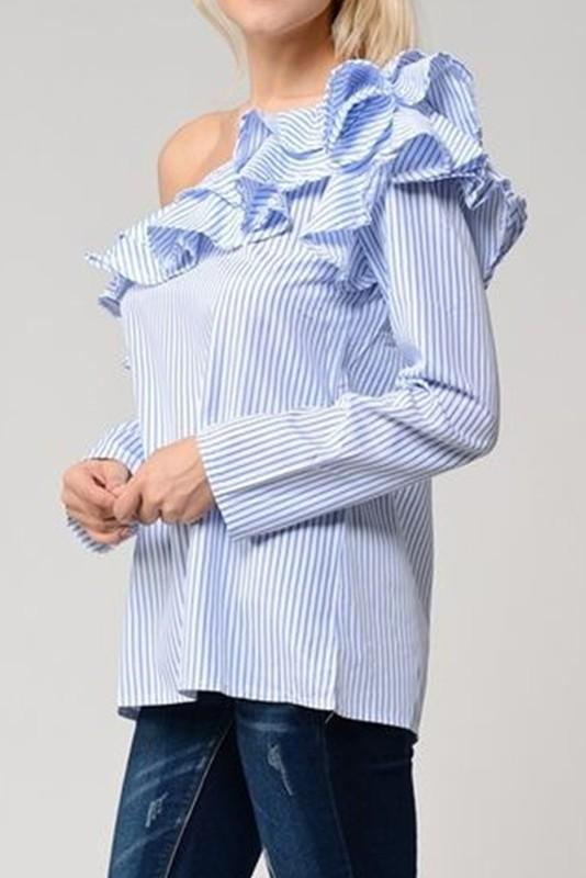Women's One Shoulder Stripe Ruffle Top