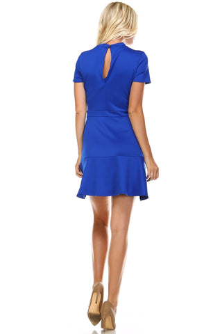 Women's High Neck Short Sleeve Fit and Flare Dress