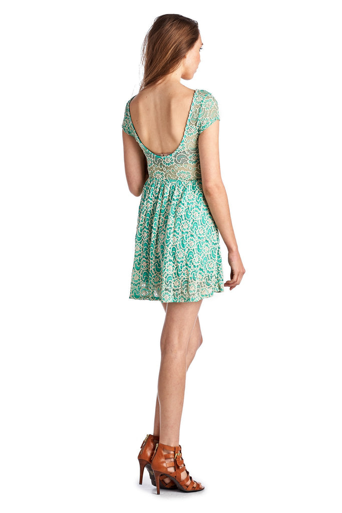 Women's Sleeveless Floral Lace Dress