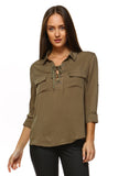 Women's 3/4 Three Quarter Sleeve Lace Up Blouse