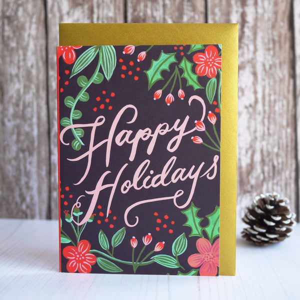 Berin Made Happy Holidays Berries Christmas Card - HUEBOW