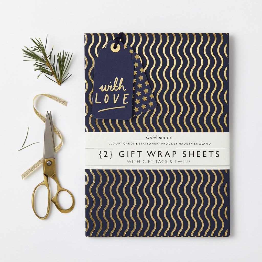 Katie Leamon Navy & Gold Wave Wrap Set - HUEBOW