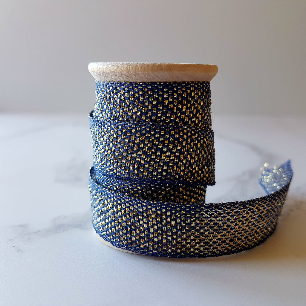 Studio Carta Metallic Cotton Ribbon Navy/Gold - HUEBOW