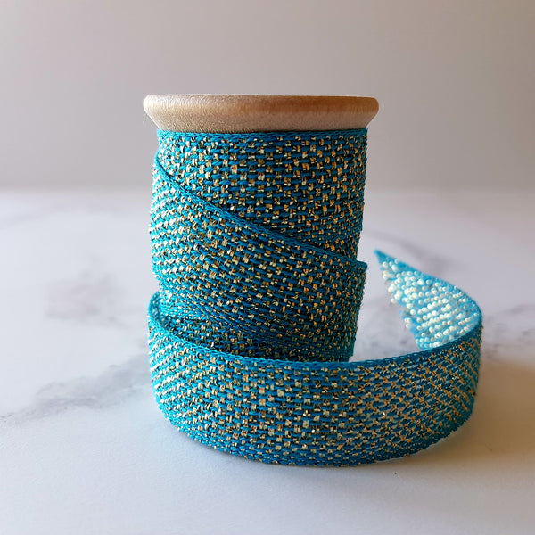 Studio Carta Metallic Cotton Ribbon Teal/Gold - HUEBOW