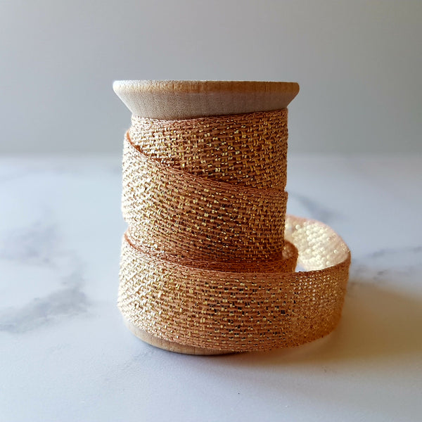 Studio Carta Metallic Cotton Ribbon Peach/Gold