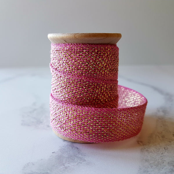Studio Carta Metallic Cotton Ribbon Pink/Gold - HUEBOW