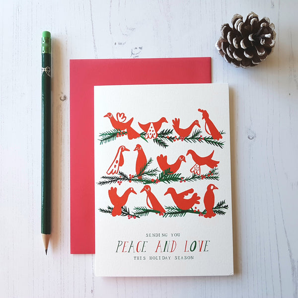 Mr. Boddington's Studio Birds Chatting Christmas Card - HUEBOW
