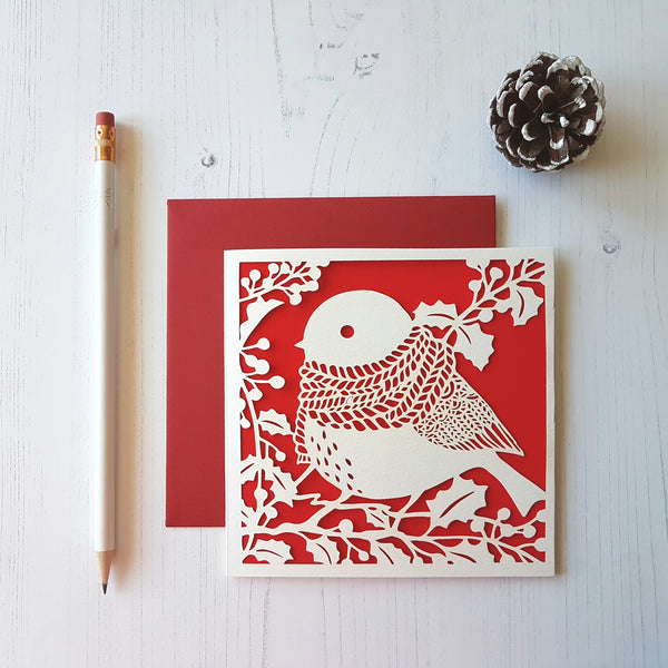 Chau Art Robin In Scarf Christmas Card - HUEBOW