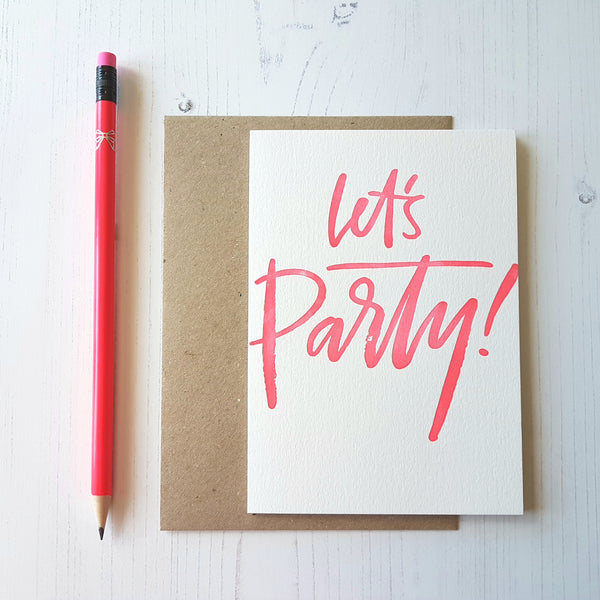 Imogen Owen Letterpress Card 'Let's Party' - HUEBOW