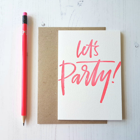 Imogen Owen Letterpress Card 'Let's Party'