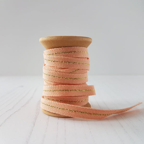 Studio Carta Metallic Cotton Ribbon Peach - HUEBOW