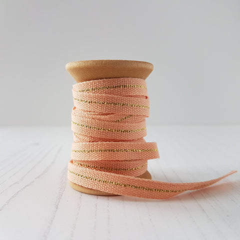 Studio Carta Metallic Cotton Ribbon Peach