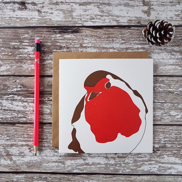 Penguin Ink Letterpress Robin Christmas Card (design continues on back) - HUEBOW