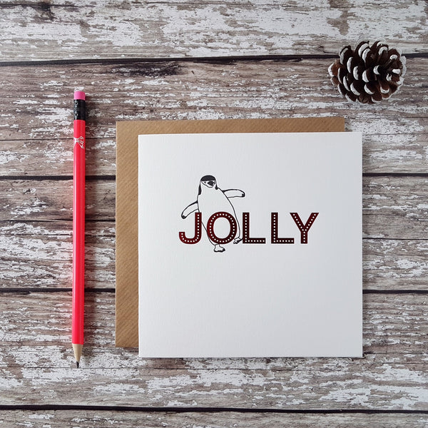 Penguin Ink Letterpress Jolly Christmas Card - HUEBOW