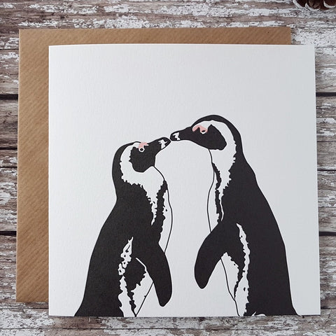 Penguin Ink Letterpress Card 'Penguins Kiss'