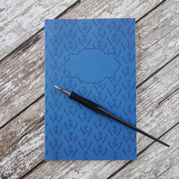Sesame Letterpress Journal Blue Anchors - HUEBOW
