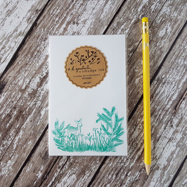Smudge Ink Letterpress Deer Notepad - HUEBOW
