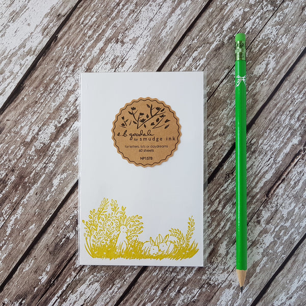 Smudge Ink Letterpress Bunnies Notepad - HUEBOW