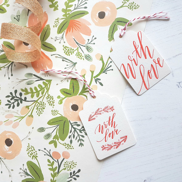 Imogen Owen Letterpress Gift Tags 'With Love' (a pack of 6) - HUEBOW