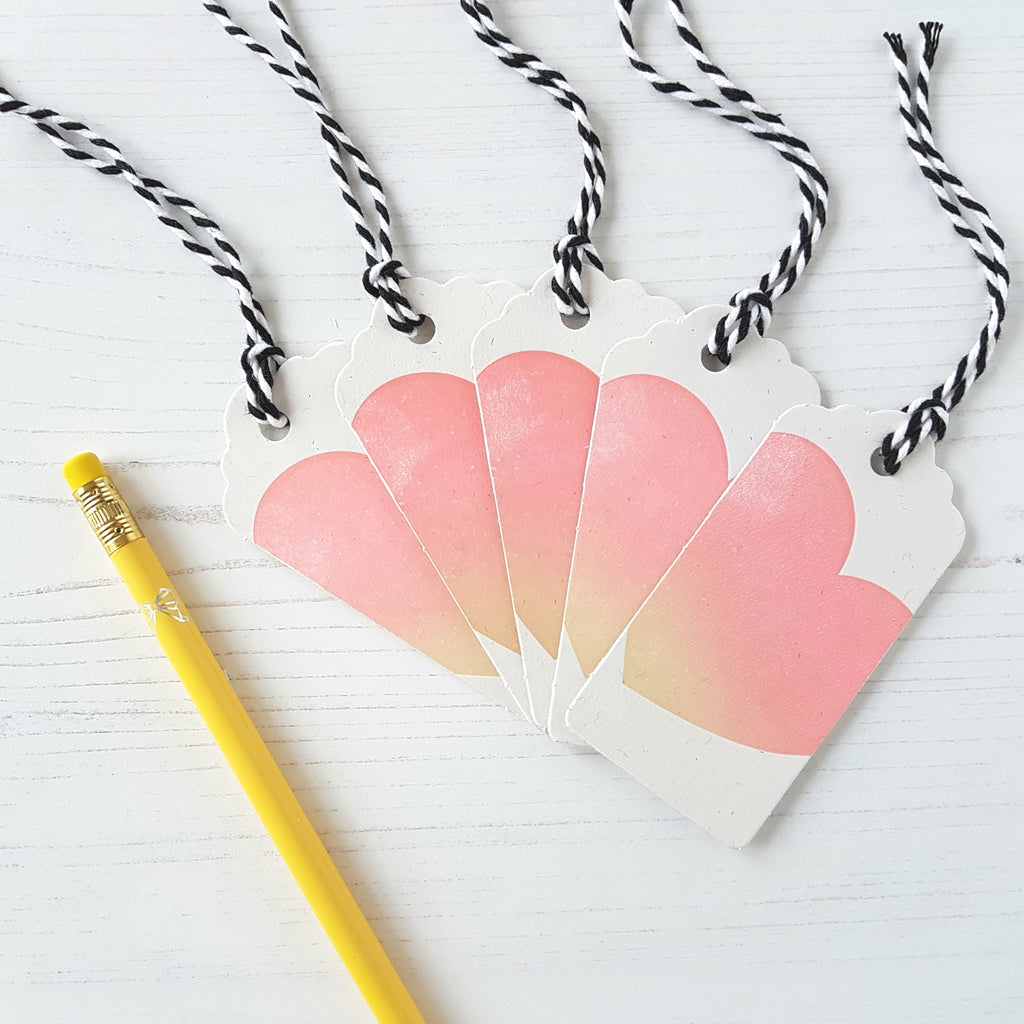 Inky and the Beast Letterpress Gift Tags Peach Heart (a pack of 5) - HUEBOW