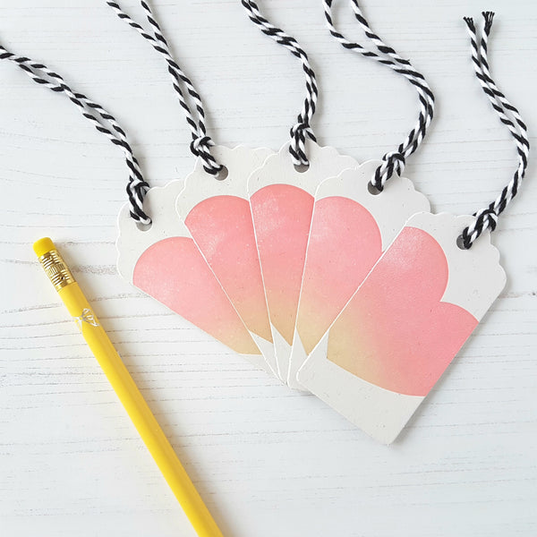 Inky and the Beast Letterpress Gift Tags Peach Heart (a pack of 5)