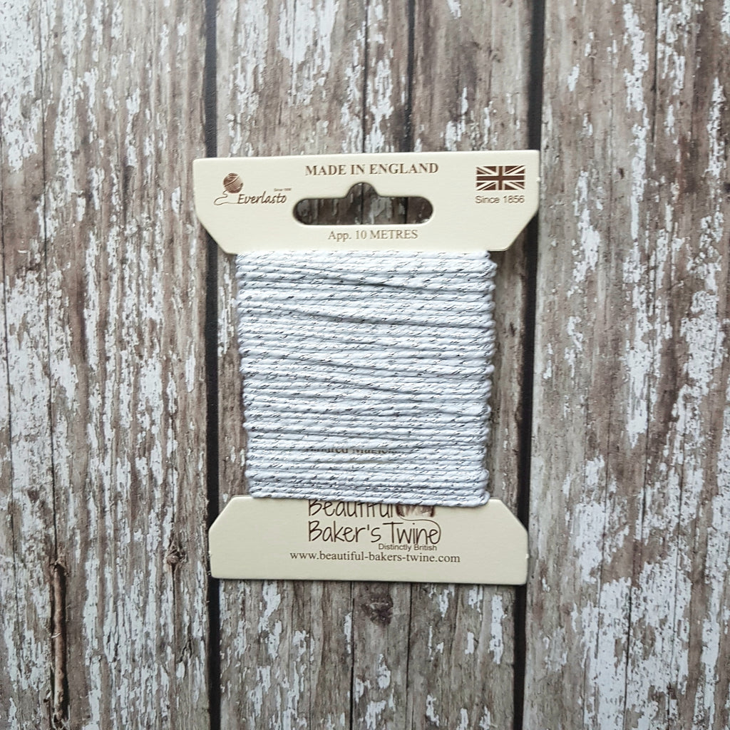 Baker's Twine 10m White Silver Sparkle - HUEBOW