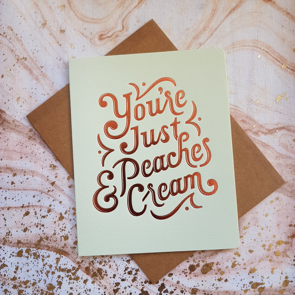 Bespoke Letterpress Card Peaches & Cream - HUEBOW