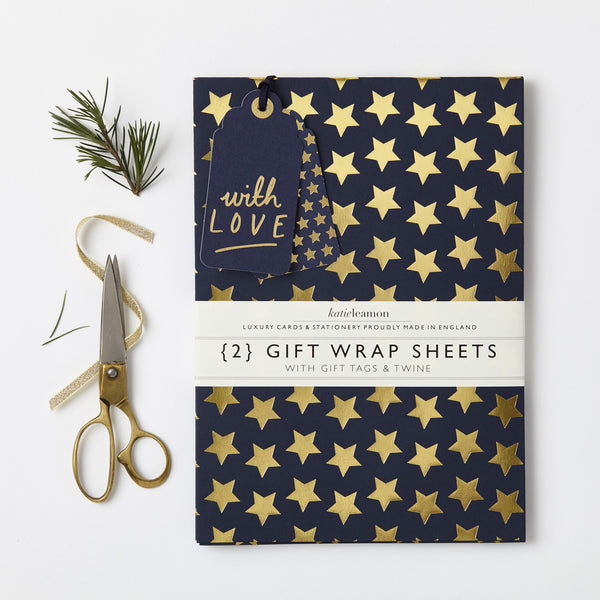 Katie Leamon Navy & Gold Star Wrap Set - HUEBOW