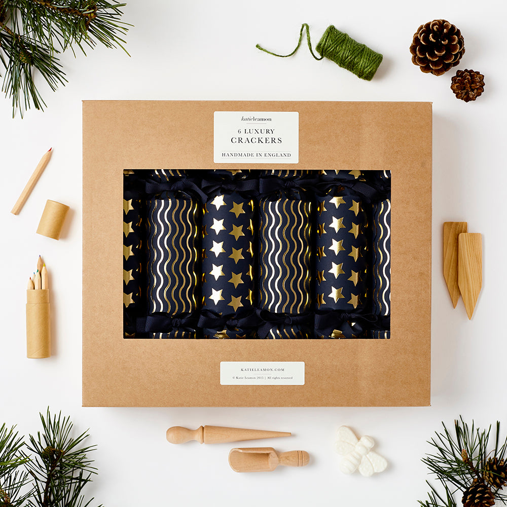 Katie Leamon Navy & Gold Christmas Crackers (Pack of 6) - HUEBOW