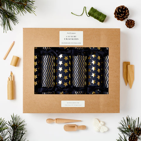 Katie Leamon Navy & Gold Christmas Crackers (Pack of 6)