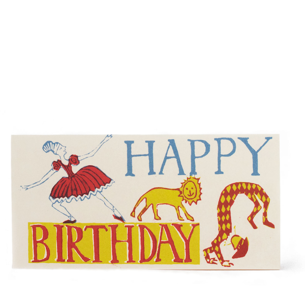 Cambridge Imprint Ballerina, Lion & Juggler Birthday Card - HUEBOW