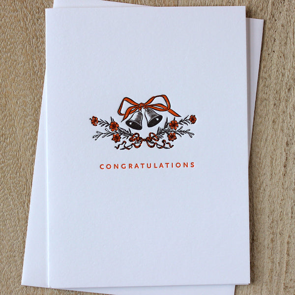 Sesame Letterpress Wedding Bells Card - HUEBOW