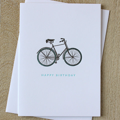 Sesame Letterpress Bike Birthday Card