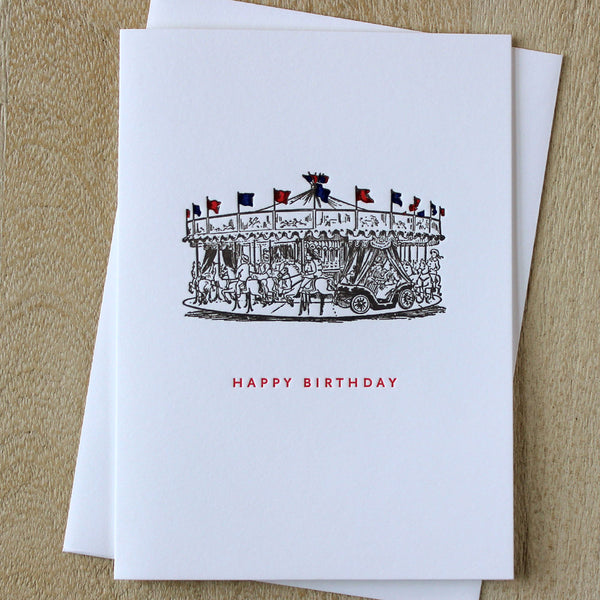 Sesame Letterpress Carousal Birthday Card - HUEBOW