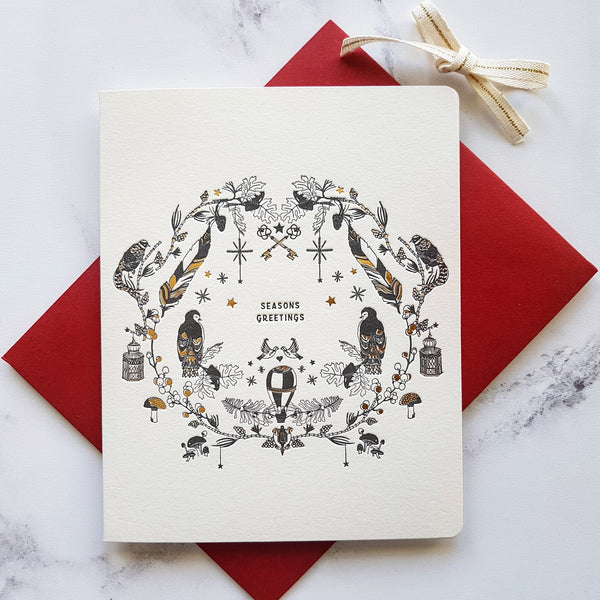 Bespoke Letterpress Woodland Seasons Wreath Christmas Card - HUEBOW