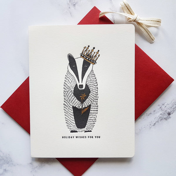 Bespoke Letterpress Woodland Badger Christmas Card - HUEBOW