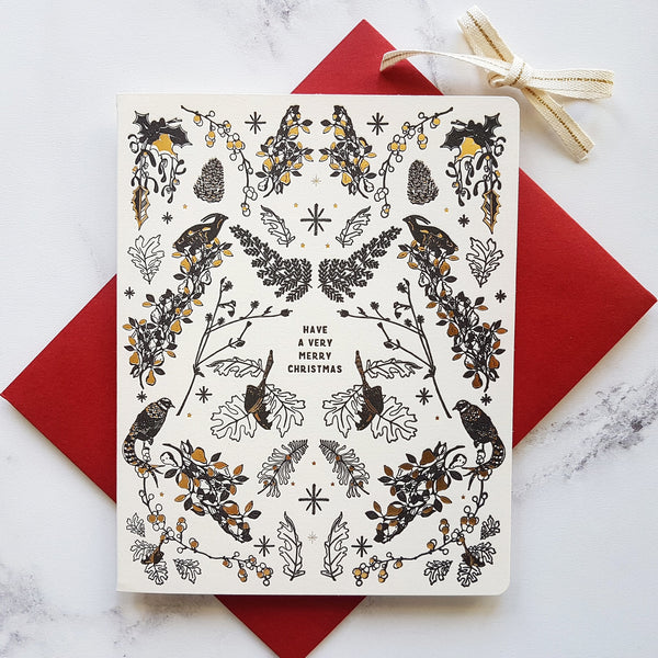 Bespoke Letterpress Woodland Illustration Christmas Card - HUEBOW