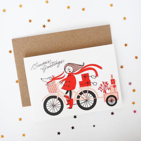 Imogen Owen Letterpress Christmas Card 'Elf Riding Bike'