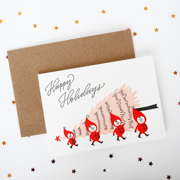 Imogen Owen Letterpress Christmas Card 'Elves Carrying Tree' - HUEBOW